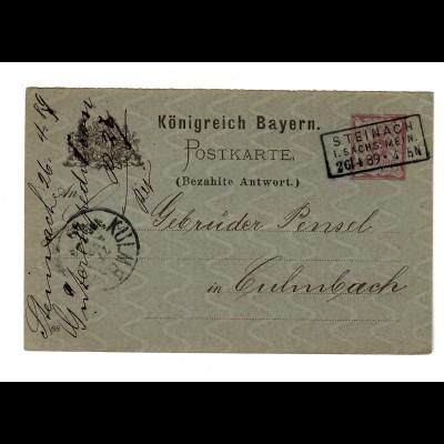 Ganzsache Steinach Sachs. Mein. nach Culmbach 1889