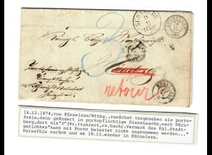 1874 Künzelsau portopflichtige Dienstsache nach Nürnberg, Vermerk Stadtgericht