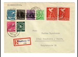 Einschreiben Hamburg 1948 nach Brackwede