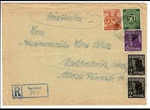 Einschreiben Tegernbach 1948 nach Marktredwitz