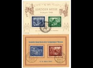 Gedenkblatt Sondermarken Leipziger Messe 1947 + 1948