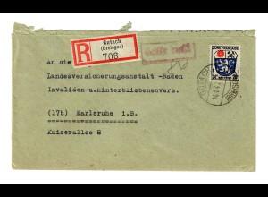 Einschreiben Gutach/Breisgau 1947 nach Karlsruhe, Gebühr bezahlt