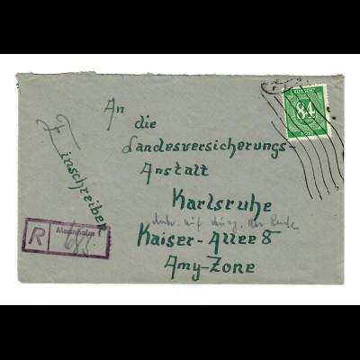 Einschreiben Mannheim 1947 mit Maschinenhalbstempel nach Karlsruhe