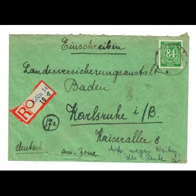 Einschreiben Köln 1947 nach Karlsruhe