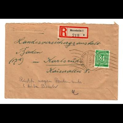 Einschreiben Mannheim 1947 mit Maschinenhalbstempel - Karlsruhe