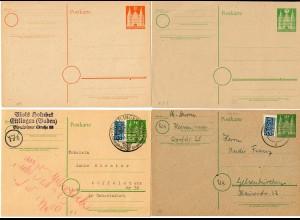 4x Ganzsache gebraucht Ettlingen und ungebraucht 1950/1949