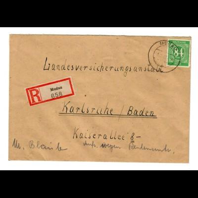 Einschreiben Mudau 1947 nach Karlsruhe