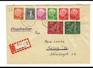 Einschreiben Karlsruhe 1960 nach Freiburg