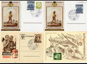 4x Gedenk-/Sonderkarten 1941