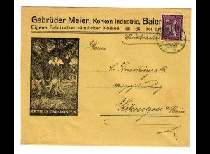 Korken-Fabrik Drucksache Erlangen, Fabrikation Catalonien nach Kitzingen