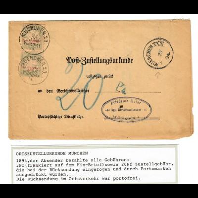 Ortszustellurkunde München, 1894, Rücksendung durch Portomarken portofrei