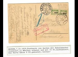 Ansichtkarte Aschau mit Rabattmarken frankiert, München nachtaxiert 1929
