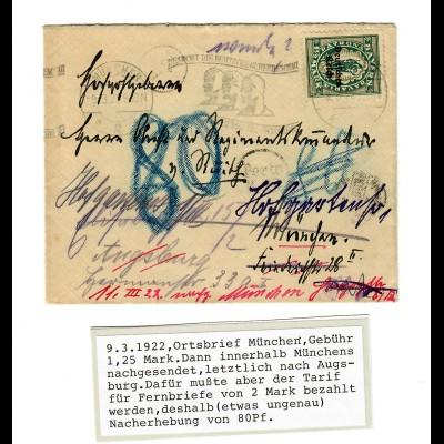 Ortsbrief München, nachgesandet nach Augsburg, Nacherhebung da Fernbrief 1922