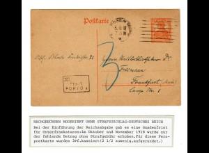 Nachgebühr ohne Strafzuschlag 1918, Gnadenfrist, Posen nach Frankfurt