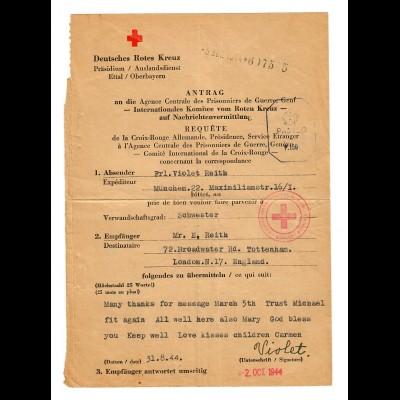 Deutsches Rotes Kreuz Antrag 1944 München nach London