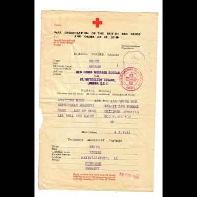 War Organisation British Red Cross London to München 1944