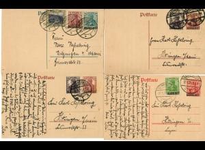 13x Ganzsachen, Brief von Saarbrücken um 1920