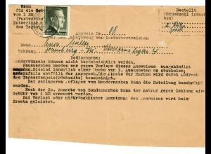 Ausweis für Dauerbezug von Briefmarken, 1 RM Einzelfrankatur 1944, Fuhlsbüttel