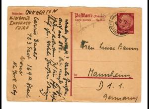 DR: Antwortganzsache von Kingussie nach Mannheim 1937