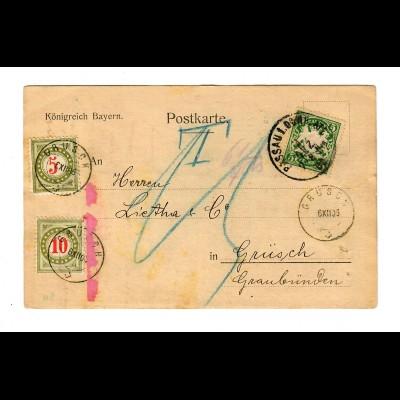1906: Passau nach Grüsch, Nachgebühr, Taxe