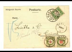 1906: Passau nach Grüsch, Nachgebühr, Taxe, Ungar. Fluss-und Seeschifffahrt