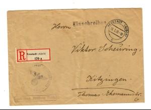 1938: Neustadt/Aisch als Einschreiben, Frei durch Ablösung Reich, nach Kitzingen