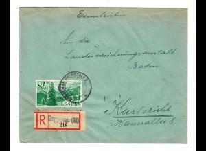 1948: Einschreiben Gaggenau/Murgstall/Offenau nach Karlsruhe
