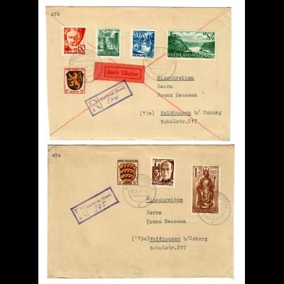 1948: 4x Einschreiben/Eilboten Briefe aus Cochem/Mosel nach Weidhausen/Coburg