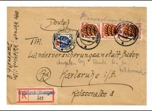 1947: Einschreiben Waldkirch/Breisgau nach Karlsruhe