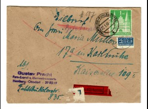 1949 Eilbote von Hamburg Ohlsdorf/Fhlsbüttel nach Karlsruhe