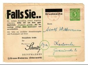 1947: Ganzsache Gross-Bieberau nach Karlsruhe, rückseitig Briefmarkenangebot