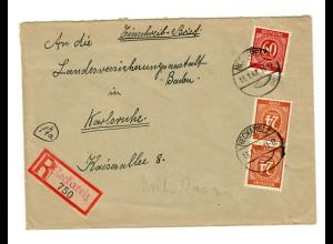 1947: Einschreiben Neckarelz nach Karlsruhe