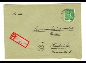 1947: Einschreiben Obrigheim nach Karlsruhe