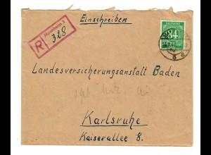 1947: Einschreiben Mannheim nach Karlsruhe