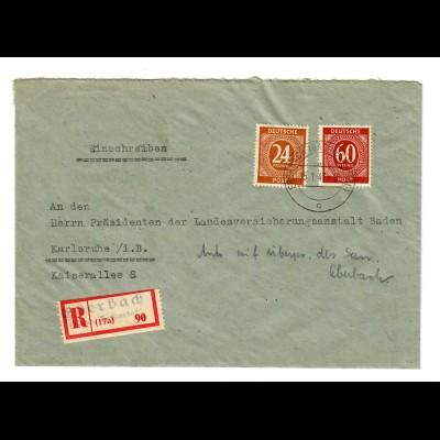 1947: Einschreiben von Eberbach/Heidelberg nach Karlsruhe