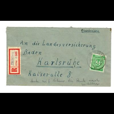 1947: Einschreiben von Heidelberg nach Karlsruhe