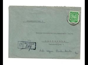 1947: Einschreiben von Mannheim nach Karlsruhe