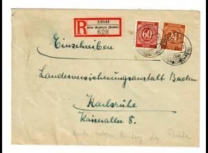 1947: Einschreiben von Allfeld/Mosbach/Baden nach Karlsruhe