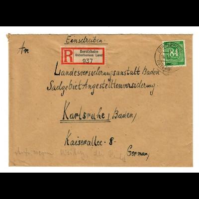 1947: Einschreiben von Berozheim/Osterburken Land nach Karlsruhe