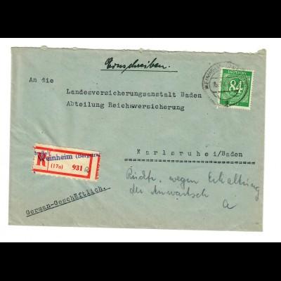 1947: Einschreiben von Weinheim/Bergstrasse nach Karlsruhe