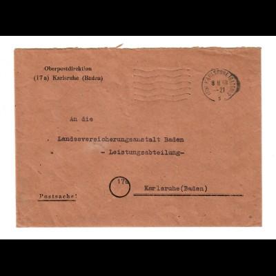 1948: Postsache der Oberpostdirektion Karlsruhe