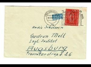 Brief 1955 von Augsburg Stotzard-P. Aindling nach Augsburg