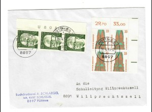 Brief aus Pöttmes nach Willprechtszell 1993, rücks. Vignette 44. Sudetendeu. Tag