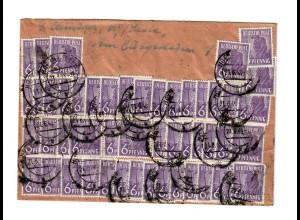 Brief 1948: Massenfrankatur Hof/Saale nach Tiefengrün