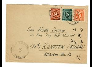 Brief 1946: Brief von Ludwigsburg nach Kempten, Military Censorship/Civil mails