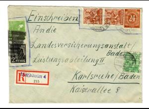 Einschreiben Mannheim 1948 nach Karlsruhe