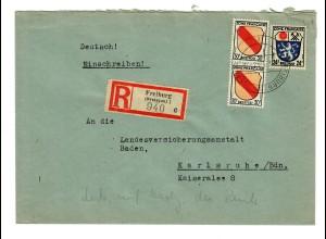 Einschreiben Gutach/Freiburg 1947 Karlsruhe