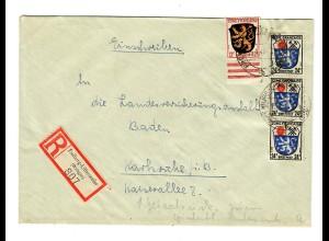 Einschreiben Freiburg Littenweiler 1947 Karlsruhe