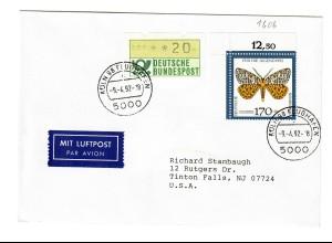 1992: Köln Flughafen als Luftpost nach Tinton Falls, NJ