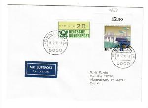 1993: Köln Flughafen als Luftpost nach Clearwater FL, USA